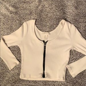 Cropped white front zipper shirt